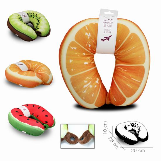 TRAVEL PILLOW WATERMELON / ORANGE/ KIWI 29 x 28 x H10 cm