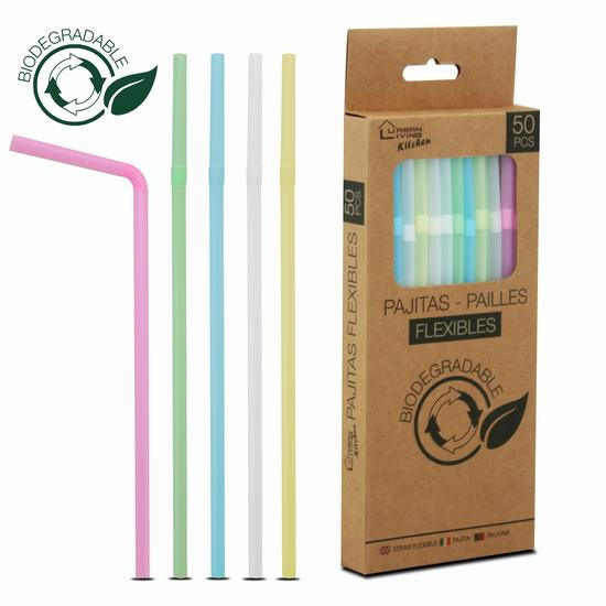 FLEXIBLE BIODEGRADABLE STRAW X50  H 21 cm