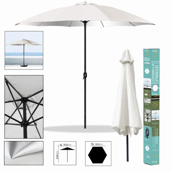 IVORY UMBRELLA WITH ANTI UV COATING Diam 3 m 180 gr/m2