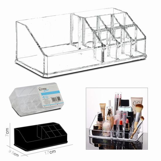 9 SECTION COSMETIC ORGANISER 17 x 9.5 x H 7 cm
